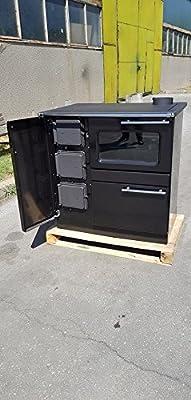 Wood Burning Cooking Stove Water Jacket Back Boiler Cooker Oven Black Color 9kw PLAMAK BO