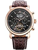 KS Herren Armbanduhr Uhren für männer Automatische Mechanische Edelstahl Leder Armband Lederband Tourbillon Uhr Geschenbox Braun KS368