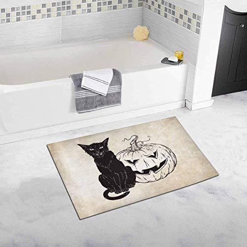 LIS HOME Schwarze Katze, die mit Halloween-Kürbis über Alter Schmutz-Papier-Dekor-Rutschfester Bad-Teppich-Matten-saugfähiger Badezimmer-Bodenmatten-Fußmatte sitzt
