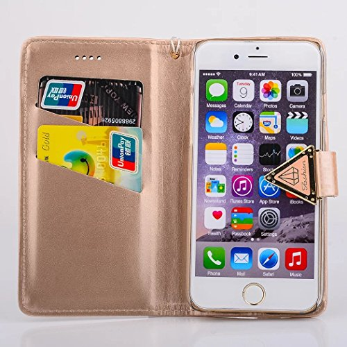 Für iPhone 6 Plus / 6s Plus Schale, Vandot Luxus Leder Flip Case Cover für iPhone 6 Plus / 6s Plus Bling Hülle mit Kartenfächern Diamant Shining Handy Schutzhülle Tasche Bumper + 1X Micro USB Kabel +  Braun