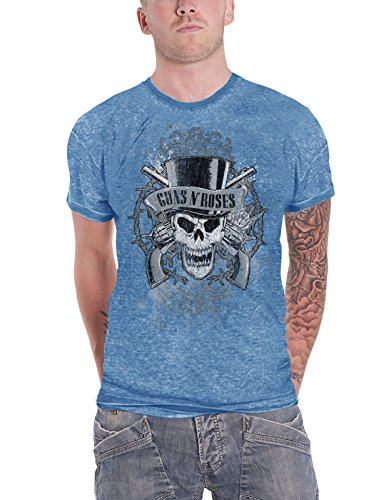Guns N Roses T Shirt Vintage Faded Skull Logo Official Mens Blue Burnout