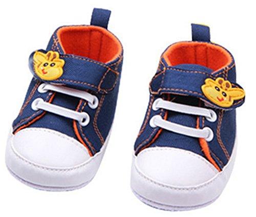 Bigood Chaussures Bébé Premiers Pas Marche Motif Girafe Mignon Bleu foncé