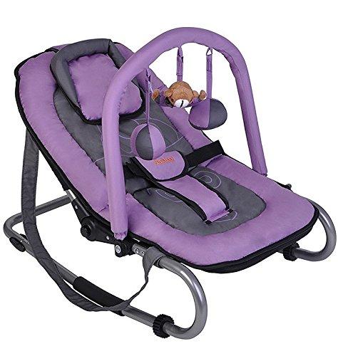 Baninni Babyschaukel Babywippe grau/lila mit verstellbarer Rückenlehne, Spielebogen, Tragegurt