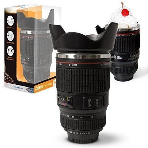 Twitfish - Camera Lens Mug - Tasse à Café Mug en forme d'objectif photo en Intérieur en acier inoxydable (Noir)