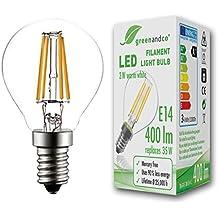Bombilla de filamento LED greenandco® E14 G45 3W (corresponde a 35W) 400lm 2700K (blanco cálido) 360° 230V AC vidrio