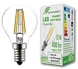 GreenAndCo® Glühfaden LED Lampe ersetzt 35 Watt E14 G45 Birne, 3W 400 Lumen 2700K warmweiß Filament Fadenlampe 360° 230V AC nur Glas, Nicht dimmbar, flimmerfrei, 2 Jahre Garantie