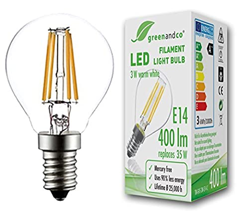 greenandco® E14 G45 LED Filament Bulb 3W (replaces 35W) 400lm 2700K (warm white) 360° beam angle 230V AC glass