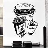 Wuyyii 44X70Cm New Home Wall Sticker Fast Food Fries Soda Burger Ristorante Pop Art