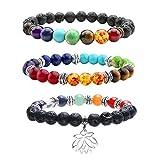 JOVIVI 3x Lava-Armband Damen Herren Energietherapie Yoga-Armband 7 Stein Chakra Healing Balance Buddha-Armband