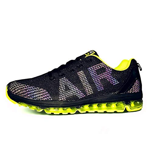 TORISKY Unisex Sportschuhe Herren Damen Laufschuhe Sneakers Turnschuhe Fitness Mesh Air Leichte Schuhe Rot Schwarz Weiß (A61-Green44) -