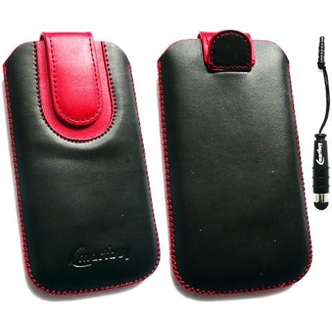 Emartbuy ® Stylus Pack Para Lg P990 Optimus 2X Negro / Rojo Slide Cuero De Primera Calidad De Pu En La Bolsa / Caja / Manga / Soporte (Tamaño 3Xl) Con El Mecanismo De Lengüeta + Metálicos Mini Negro Stylus + Protector De