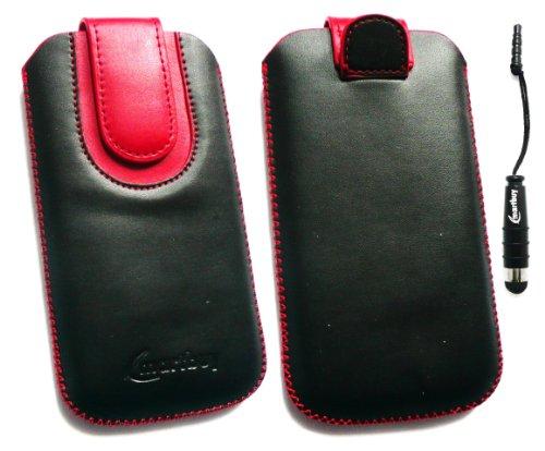emartbuy ® Stylus Pack Für HTC Hero Black/Red Premium-Pu-Leder Slide In Pouch/Case/Sleeve/Holder (Größe Large) Mit Pull Tab Mechanism + Metallic Mini Black Stylus + LCD Screen Protector Htc Hero Screen Protector