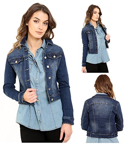 SheLikes New Womens Short Cropped Mid Wash Blue Stretch Denim Long Sleeve Lightweight Jacket