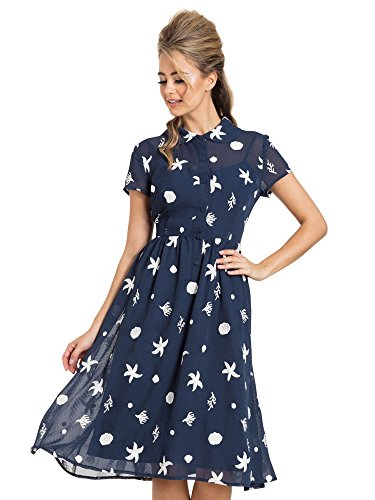 Voodoo Vixen Kleid Mary Under-The-Sea Printed Swing Dress 8491 Blau XXL