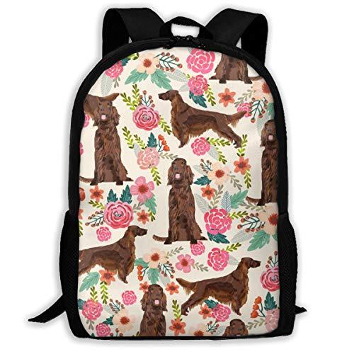 Irish Setter Floral Blumen Haustier Hund Stoff Cream_266 Reise-Laptop-Rucksack, Extra große College School Student Rucksack für Männer und Frauen , klassischen Rucksack Irish Blumen