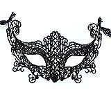 iixpin Máscara Encaje Atractiva Mujer Antifaz de Carnaval Halloween Disfraces Juguetes Lencería Sexy Erótica Máscara de Ojo Lujo Cosplay Gato Mascarada Catwoman Costume Negro B One_Size