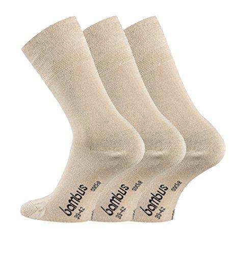 TippTexx24 Bambussocken von FussFreunde, 6 Paar Komfort Socken mit GERUCHS-KILLER Funktion (camel, 43/46)