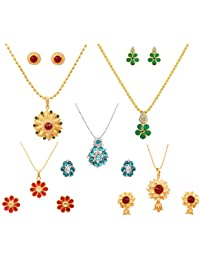 Touchstone Traditional And Modern Art Red Green White Blue Crystals Alloy Four Pendant Set In Gold And Silver...