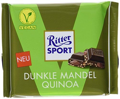 (RITTER SPORT Dunkle Mandel Quinoa (10 x 100 g), Vegane Schokolade, verfeinert mit ganzen Mandeln und knusprigen Quinoacrisps, Halbbitterschokolade)