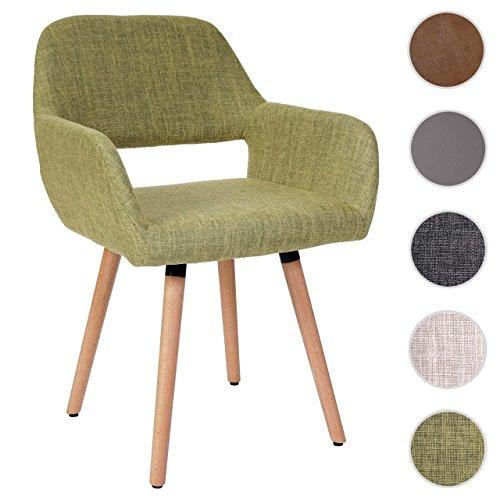 Mendler Esszimmerstuhl HWC-A50 II, Stuhl Lehnstuhl, Retro 50er Jahre Design ~ Textil, hellgrün
