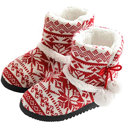AONEGOLD Hausschuhe Damen Hausstiefel Baumwolle Pantoffeln mit Plüsch Rutschfest Winter Indoor(Rot,Größe 38-39 EU)