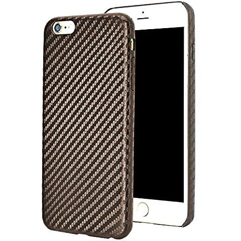 IPhone 6 casos para el iPhone 6 / iPhone 6s(4,7 pulgadas), fibra de carbono Slim Forito patrón Carcasa trasera de cuero pu para iPhone 6 y iPhone 6s VOLVER Caso resistente a arañazos (fibra de carbono PU