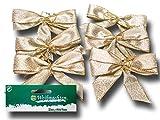 Sia 88907/3 Weihnachtsdeko Zierschleifen Dekoschleifen Beige/Gold, 6 Stück (B1/15)