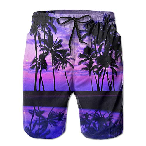 Hawaii Purple Palm Tree Sunset Mens 3D Print Graphic Quick Dry Boardshort Swim Surf Trunk Beach Swim Shorts XX-Large (Oakley Boys Golf)