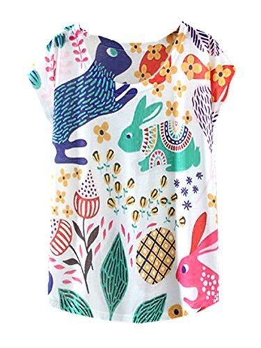 YICHUN Damen T-Shirt Mehrfarbig mehrfarbig One size Rabbit 5#