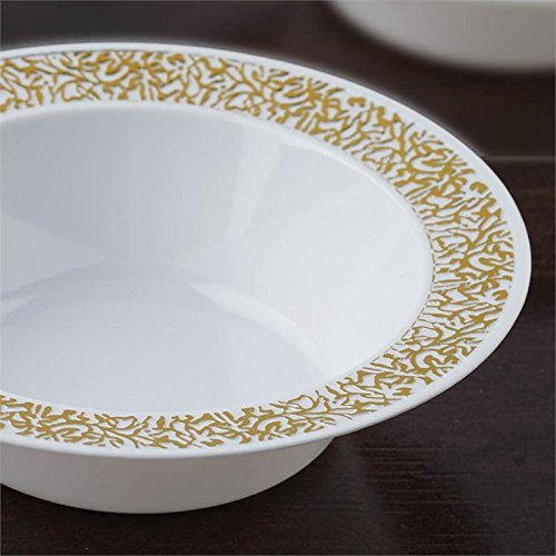 BalsaCircle 10 pcs Disposable Plastic Round Bowls - 12 oz White with Gold Trim by BalsaCircle