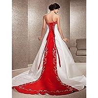 kekafu Una línea de tren Catedral satén Princesa Strapless con vestido de novia con apliques bordados