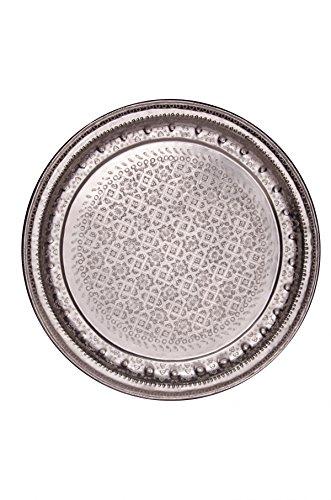 Orientalisches rundes Tablett aus Metall Amana 77cm | Marokkanisches Teetablett rund in der Farbe Silber | Orient Silbertablett silberfarbig | Orientalische Dekoration auf dem gedeckten Tisch -