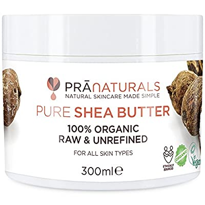 PraNaturals 100% Organic Shea Butter 300ml, A Grade African Pure Ivory All Natural Raw Unrefined, Nutty Scent, Smooth & Creamy Body Moisturiser For All Skin/Hair Types, Soil Association Certified by PraNaturals