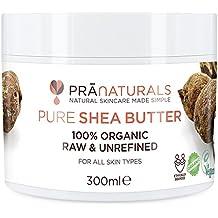 PraNaturals Beurre de karité 100 % biologique – Hydratant et protecteur UV pour tous types de peau – Réduit l'acné, les cicatrices, les vergetures, la cellulite, l'eczéma et la peau sèche – Hydrate et répare les cheveux, les mains, les pieds, les coudes et les genoux – Riche en vitamines – Brut, pur et non raffiné (300 ml)