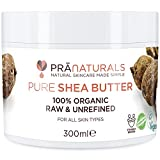 PraNaturals 100% Organic Shea Butter 300ml, A Grade African Pure Ivory All-Natural Raw Unrefined Extra Virgin, Smooth & Creamy Body Moisturiser for All Skin/Hair Types, Soil Association Certified