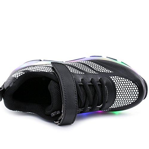 AIMOGE Basket Enfants chaussures à roulettes LED lights baskets avec roues Garçons filles Noir