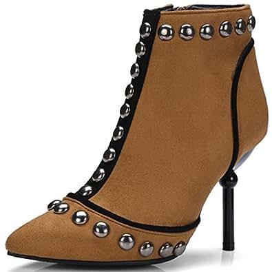 Aisun Damen Sexy Spitz Zehen High Heels Kurzschaft Chelsea Knöchelstiefel Mit Reißverschluss Braun 36 EU L6L47dE