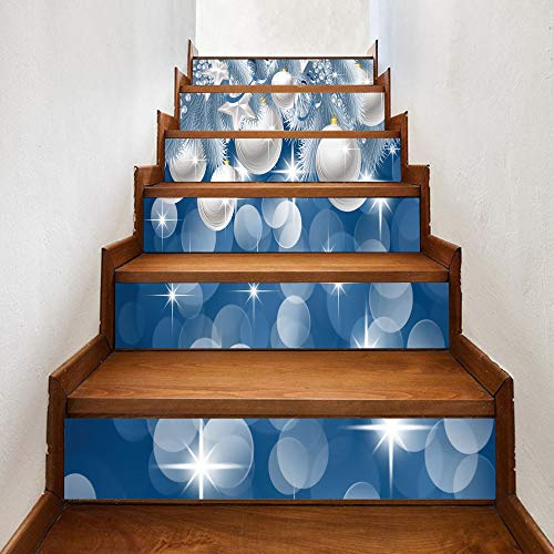 Stairs stickers Christmas New Christmas White Bell Creative Stair Sticker Creative Decorative Wall Sticker 18CM*100CM*6 pieces -