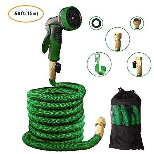 SANTAY Flexibler Gartenschlauch Wasserschlauch Garden Zauberschlauch ausdehnbar bis 15m mit 9 Multifunktionale Duschköpfe Perfekt für Gartenarbeit Bewässerung Autowäsche Reinigung (Grün)