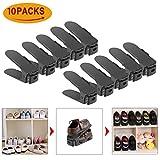 10 Stück Einstellbare Schuhregale, HOBFU 3 Schritt Schuhstapler/Schuhhalter Set Dauerhafte Schuh Slots Schwarz für Schuh Speicher Space Saver