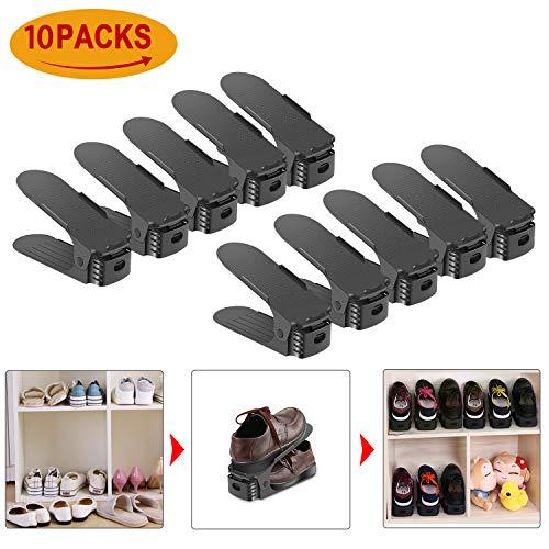 Organizador Zapatos HOBFU 10 PACKS Creativo Organizador de calzado ajustable para almacenamiento de calzado Ahorro de espacio Negro