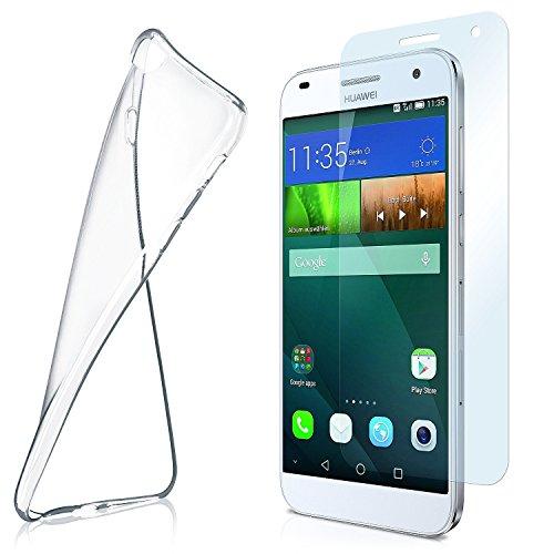 Los casos de OneFlow + armadura para el caso del Huawei Ascend G7 Funda de silicona de 0,7 mm de TPU delgada   Accesorios para la protección móvil   Claro Handyhülle   Película de vidrio protector