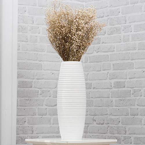 Leewadee Kleine Bodenvase für Dekozweige hohe Standvase Design Holzvase, 15x41 cm, Mangoholz, weiß