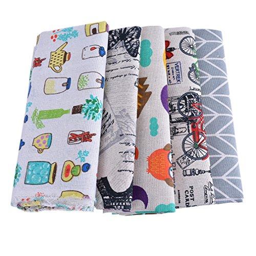 30c7a7df352ac9 Souarts 5 Stück Stoffpakete DIY Kleine Elue Schmetterling Muster  Baumwolltuch Patchwork Stoffe Paket 100x50cm (1