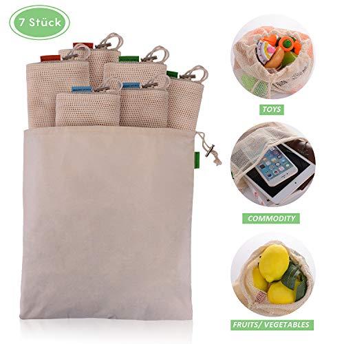 EKKONG Wiederverwendbare Obst- und Gemüsebeutel, 100% Baumwolle, Obst und Gemüsenetze Einkaufsnetze waschbare für plastikfreies Leben 7er Set(2 x Large, 2 x Medium, 2 x Small, 1x Brotbeutel)