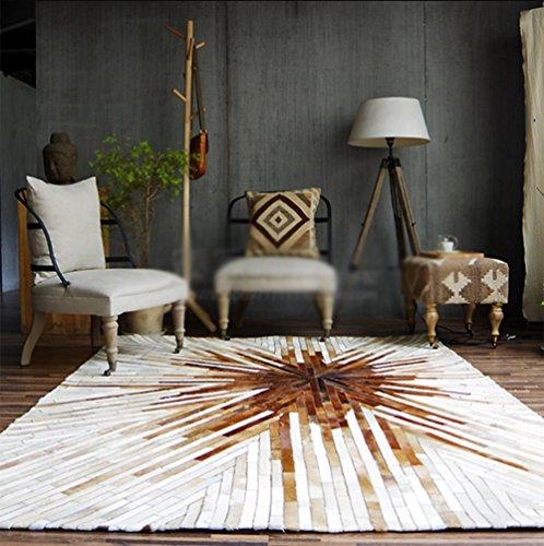 YMXLQQ Teppich Leder geometrische Hand genäht Schlafzimmer Bettvorleger leicht zu reinigen Studie Kaffeematten Teppich ( Farbe : 3 , größe : 140*200cm ) (Slip Leder Genäht Hand)