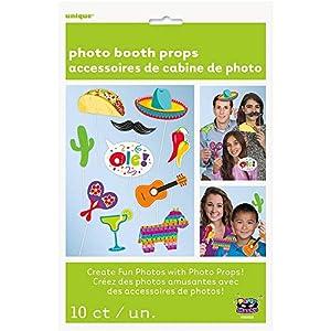 Unique Party 58689 - Juego de 10 accesorios para fotos, diseño de Fiesta mexicana