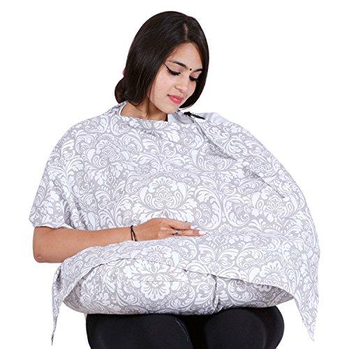Lula Mom Cotton Nursing Cover With Pillow, Grey
