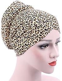 d6fa61106e26 COMVIP Femme Bonnet Coton Musulman Léopard Floral Rayures Turban Chimio  Mode Chapeau Couvre-Tête Cheveux