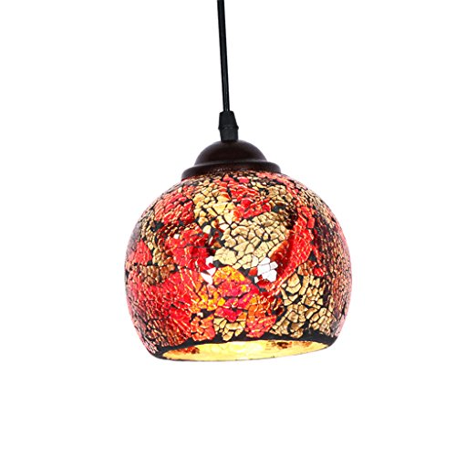 Baoblade Baoblaze Vintage Hanging Light Mosaic Design Pendant Ceiling Lampshade Stained Glass - 3#, as described